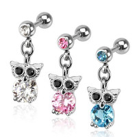 Owl Cz Dangle 316l Surgical Steel Tragus/cartilage Barbell, Clear, Each Sold Individually