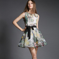 Floral Print Tie-Waisted Sleeveless Chiffon Dress