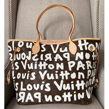 Stephen Sprouse Graffiti Painted on One Side of Bag