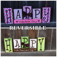 SALE REVERSIBLE Valentine's & St Patrick's day wood  blocks-Happy Valentine's day reverses with Happy St Patrick's day