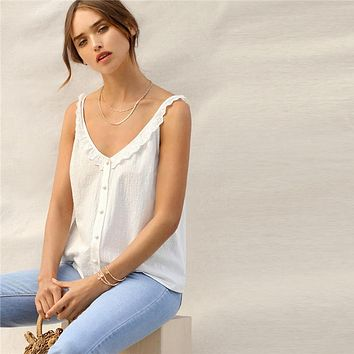 Eyelet Embroidered Ruffle Trim Button Front V Neck Cami Plain Top Women Party Highstreet Vests