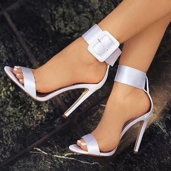 New Fashion Women Sandals Hot Buckle ankle strap Pump High Heels Shoes Fish Mouth style 4 Colors Plus size 34-43 PA914845
