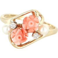 Vintage Coral Flower Cocktail Ring 14 Karat Gold Cultured Pearl Diamond Estate Jewelry 6.5