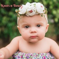 White Flower Nylon Headband, Baby Girls Flower Headband, Girls White Floral Headband