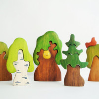 Tree set (5 pcs) Woodland set puzzle Nature table Tree figurine Toys for kids Childrens toy Handmade Eco Friendly Birthday gift Pretend play