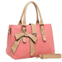 MG Collection LUNA Charming Ribbon Accent Office Tote Purse / Shoulder Bag