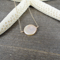 14k gold filled freshwater pink coin pearl bead necklace / bridesmaid necklace / dainty necklace / minimalist / June birthstone necklace