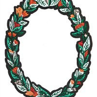 Floral Oval Wreath Large Back Patch