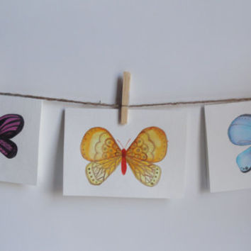 Purple Butterfly Card, Hand Painted, Watercolor Cards, Spring Card, Card Set