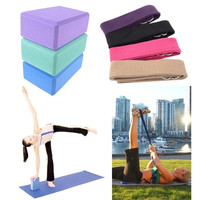 "Yoga Stretch Strap Training Belt 70.08"" & Yoga Block Brick Foam Exercise Tools = 1932941188"