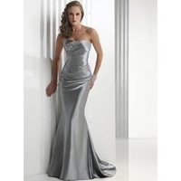 Woman Long Silver Mermaid Evening Dress Formal Prom Gowns Dress
