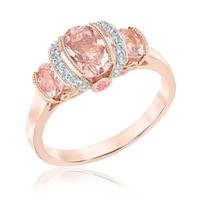 Morganite, Pink Tourmaline and White Sapphire Three-Stone Ring