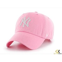 New York Yankees '47 Brand Adjustable Cap + Crystals - Pink
