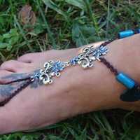 Macrame Barefoot Sandal, Anklet toe ring, Blue Enamel pendants, sea shell charms, wood beaded anklet, hippie jewelry, gift for her
