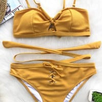 Cupshe Old Melody Lace Up Bikini Set