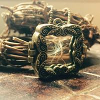 Victorian Wish Locket Necklace - Handmade with REAL Dandelion Seeds, Antique Brass Locket that Opens and Closes!