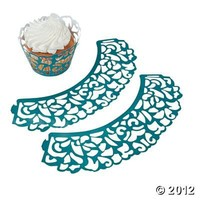 Peacock Wedding Laser-Cut Cupcake Collars, Cake Decorating Supplies, Party Decorations, Party Themes & Events - Oriental Trading
