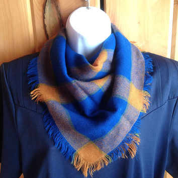 Vintage scarf   Soft fringed plaid kerchief (choice of color)