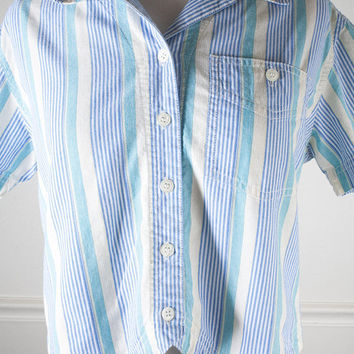 Cropped Button Down Shirt, 90s Shirt, Cropped Shirt, Striped Shirt, Crop Top, 80s Top, 90s Top, 90 Grunge Shirt, Soft Grunge Clothing