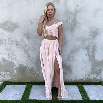 Dance With Me Lace Top & Maxi Skirt Set In Blush Pink