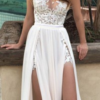 vestido novia Beach Wedding Dresses 2016 See Through Boho Wedding Dress cash on delivery High Slit Lace Cheap Bridal Dress Women