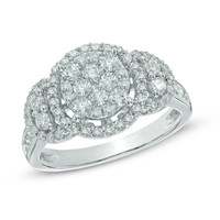 1 CT. T.W. Diamond Three Stone Cluster Frame Ring in 10K White Gold