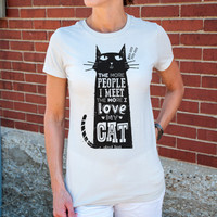 Love My Cat - Women's purrr-fect cat t-shirt in Silver, Teal, or Leaf Green