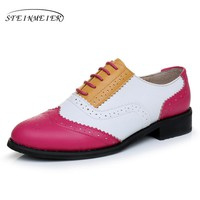 Genuine leather big woman US size 11 designer vintage flat shoes round toe handmade red white yellow oxford shoes for women fur