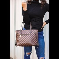 Tory Checkered Tote in Brown
