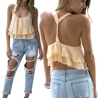'The Danica' Twisted Back Layered Chiffon Crop Top