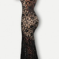 Two-toned Sexy Lined Long Lace Evening Dress