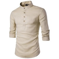 2017 spring summer Men`s Linen Cotton Blended Shirt Mandarin Collar Breathable Comfy Traditional Chinese Style Popover Henley