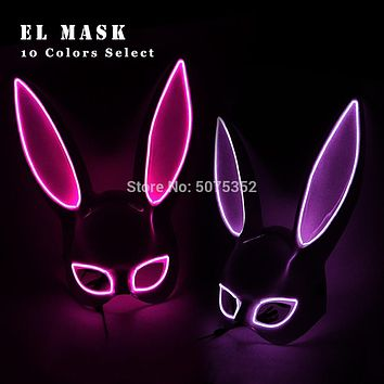 Bunny Ears Face Mask Fluorescent LED EL Wire Light Up