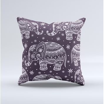 The Purple Sacred Elephant Pattern ink-Fuzed Decorative Throw Pillow