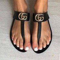 GUCCI Fashion Women Casual Leather Double G Sandal Slipper Shoes Black