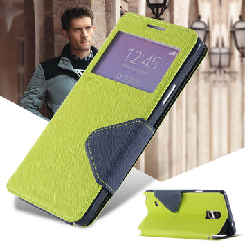 View Display Flip Cover Stand with Card Slot PU Leather Case for Samsung Galaxy Note 4 N9100