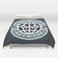 SAD WORLD NEWS NETWORK Duvet Cover by Chobopop