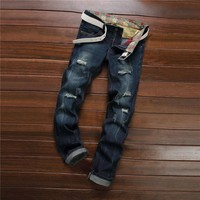 Strong Character Ripped Holes Slim Denim Pants Jeans [6541748547]