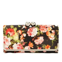 Kiss-Lock Floral Print Checkbook Wallet