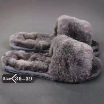 UGG: wool in one word drag slippers Grey G-A-YYMY-XY