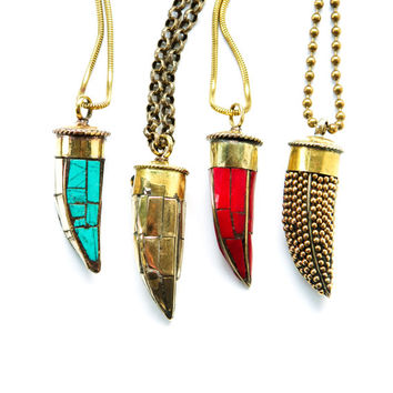Gold Brass Tusk Necklace, Bohemian Horn Necklace