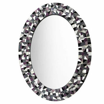 Wall Mirror, Mosaic Mirror, Decorative Oval Mirror, Purple Gray Black