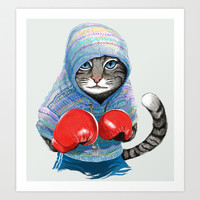 Boxing Cat Art Print by Tummeow