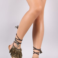 Qupid Suede Fringe Feather Accent Lace Up Thong Flat Sandal