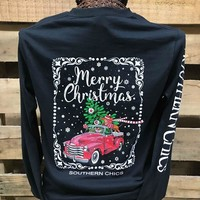 Southern Chics Merry Christmas Truck Dog Girlie Long Sleeve Bright T Shirt