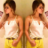 2014 New Fashion Summer White  Chiffon Tops Camisoles & Tanks for Woman = 1667682756