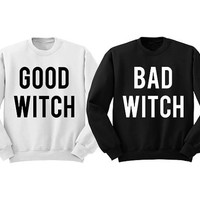 """""""GOOD WITCH"""" BAD WITCH"""" Crewneck  Halloween Sweatshirt Halloween Duo Best Friends Witch Sweatshirt Matching Shirts pullovers"""