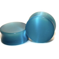 "Teal Cats Eye Stone Plugs - 8g, 6g, 4g, 2g, 0g, 00g, 7/16"", 1/2"", 9/16"", 5/8"", 3/4"", 7/8, 1"""