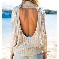 Solid Lapel long sleeved sweater hollowed Halter