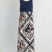 Boho Long Tank top (2 thick straps) Maxi Poetry Glam Dress in Navy